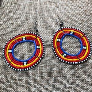 Jewelry - African style multi colored beaded hoop earrings